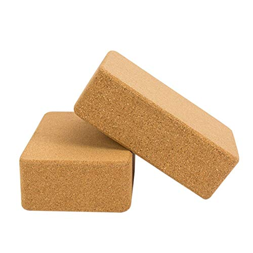 * Juego de 2 bloques de corcho firmes y resistentes antideslizantes de madera de corcho de 22 x 15 x 7,6 cm para yoga, pilates, entrenamiento en casa