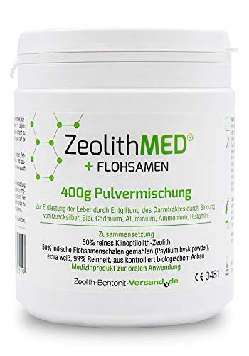 Zeolith MED + Flohsamen Pulvermischung 400 g, CE zertifiziertes Medizinprodukt