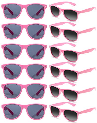 Pack of 12 Neon Pink 80s Style Sunglasses, Choice of Colours