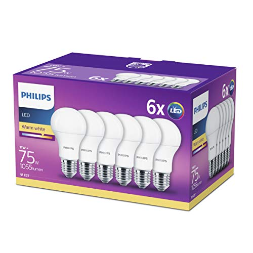 Philips Lighting - Bombilla LED esférica E27, 11 W, equivalente a 75 W, blanco cálido, 1055 lúmenes, no regulable, Paquete de 6