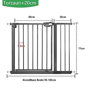 Froadp Barrière de protection pour porte d'escalier bébé sans perçage 95-105 cm Barrière de porte pour escaliers de sécurité automatique Noir