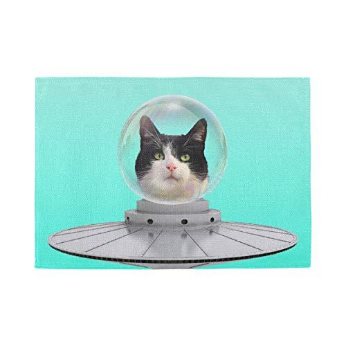 Set de Table Funny Art Collage Concept Cat UFO, Tapis de Table antidérapants résistants à la Chaleur, adaptés à la Table à Manger à la Maison, au Bure