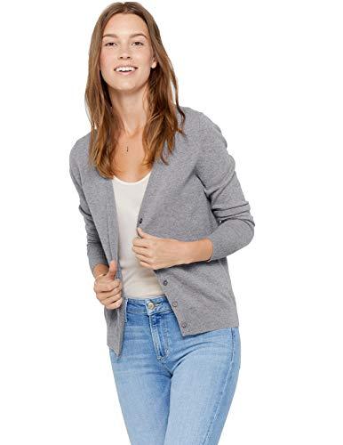 State Cashmere Damen Strickjacke 100% reines Kaschmir Knopfleiste Langarm Pullover mit V-Ausschnitt (M, Grau meliert)