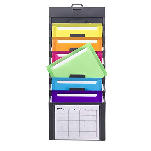 Smead Cascading Wall Organizer 6 Pockets Letter Size Gray/Bright Pockets 92060