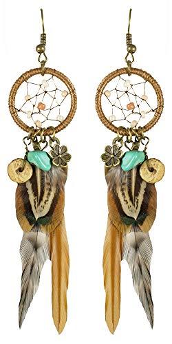 Das Kostümland Feder Ohrringe Traumfänger zum Indianerin Kostüm - Ohrhänger Damen Modeschmuck Zubehör Indianer Wilder Westen Karneval Mottoparty
