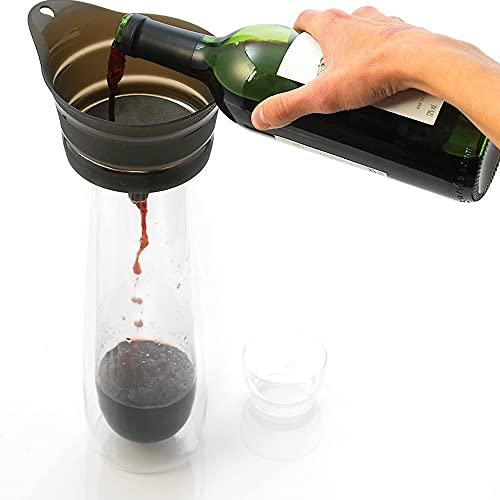 Herramientas de cocina de filtro de vino, embudo de acero inoxidable con filtro de malla fina, embudo de filtro de vino de jugo de mermelada, purificador de vino, restauración del sabor, ventilación