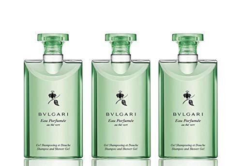 Bvlgari Au The Vert (Green Tea) Shampoo and Shower Gel Set of 3, 2.5 Fluid Ounce Bottles