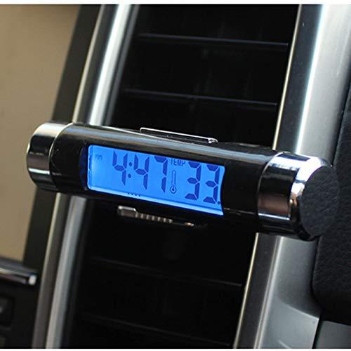 Jiobapiongxin 2 In 1 Auto Fahrzeug LCD Digitalanzeige Kfz-Thermometer Uhr Tragbare Auto Entlüftungsöffnung Aufsteckbare LED Hintergrundbeleuchtung (schwarz) JBP-X