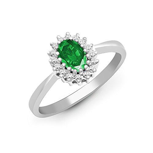 Jewelco Europa Señoras Oro Blanco 9k 0.12ct Diamante 0.52ct Esmeralda compromiso anillo