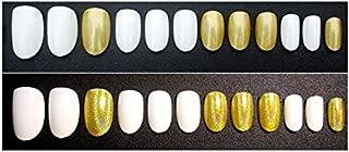 TBOP FAKE NAIL art reusable French long Artifical False nails 24 pcs set in White and Yellow color