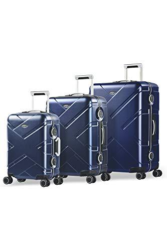 Eminent Gold Juego de Maletas Crossover Set 3 Maletas de Viaje (Cabina + Mediana + Grande) Rígidas Policarbonato & Marco de Aluminio 4 Ruedas Dobles 360° Doble Cierre TSA Azul/Gris