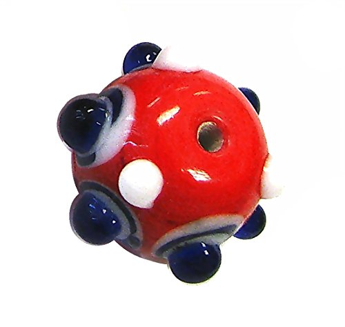 Linpeng 30PCS Murano Style Polka Dots, Millefiori, Dotted Bumps Around Lampwork Glass Beads/Red & Blue Color/Size Around 20mm with 2mm Hole