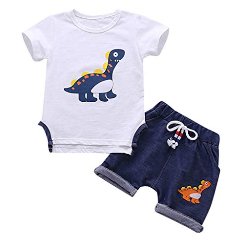 Yazidan Baby Jungen Kinder Kurzarm Dinosaurier Cartoon Trainingsanzüge Sport Anzüge Kleidung Sets Fat Dinosaurier Kurzarm Kinderkleidung zweiteilig