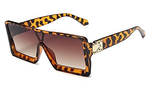 Gafas de Sol cuadradas Retro Mujeres de Verano Estilos de Verano de Manera sobredimensionada Plana Plana Gafas Tapa Sombras Hombres UV400 (Color : 3, Size : F)