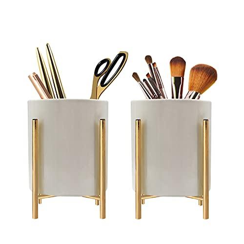 2 Pack Ceramic Pen Holder Stand,Metal Frame Support Stable Makeup Brush Holder For Girls Women,Desk Accessories Holder,Durable Desktop Organizer Pencil Holder Pot Ideal Gift For Office Home (White)
