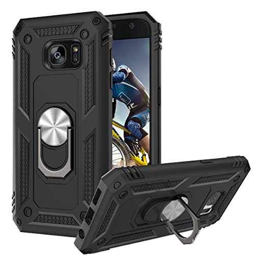 BENTOBEN Samsung Galaxy S7 Case, Galaxy S7 Case, [ Military Grade ] Heavy Duty Rugged Shockproof Protective Kickstand Phone Case Cover with Sturdy Rotatable Ring for Samsung Galaxy S7 (2016), Black