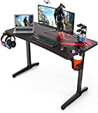 DESIGNA Computer Desk Racing Style, 47 inch Gaming Desk, Writing Home Office Desk with Free Mouse Pad, USB Handle Rack, Cup Holder & Headphone Hook, Black