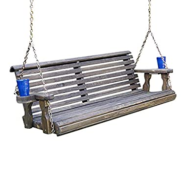 Amish Heavy Duty 800 Lb Roll Back Treated Porch Swing With Hanging Chains And Cupholders (4 Foot, Dark Walnut Stain)