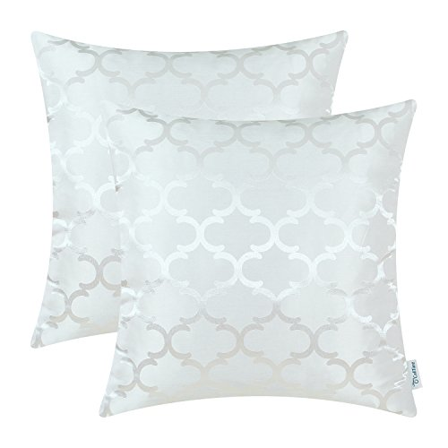 CaliTime Cushion Covers Pack of 2 Throw Pillow Cases Shells for Home Sofa Couch Modern Shining & Dull Contrast Quatrefoil Accent Geometric 45cm x 45cm White