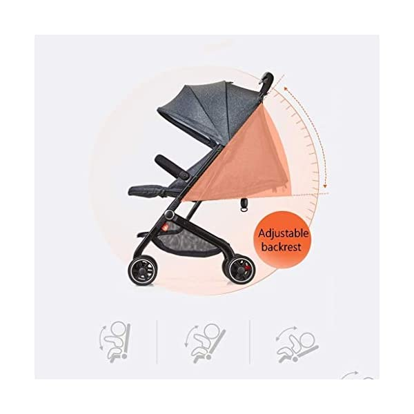 LAMTON Baby Stroller for Newborn, Stroller Stroller Shock Absorber Umbrella Light and One-Handed Foldable Comfortable Sitting, 5 (Color : Red1) LAMTON Adjustable handlebars for people of all heights can adjust the most comfortable push position Easy to fold, can be picked up in the trunk of the car, his parents urge him to go shopping, travel, walk, play and talk, or picnic outdoors The aluminum alloy triangle frame is safer, safer and more secure. 5