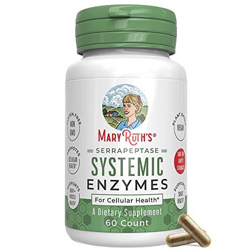 Serrapeptase Enzymes by MaryRuth's - Serrapeptase High Potency Sinus Pills - Inflammation, Pain, Allergies - Delivered by a Plant Based, Vegan Capsule - Enteric Coated - 60 Count