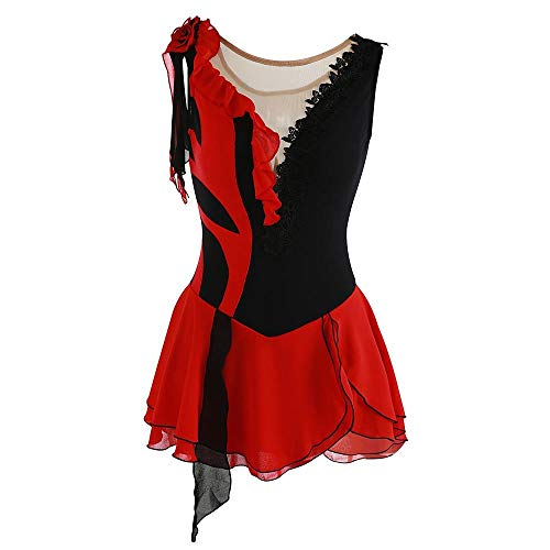 LWQ Eiskunstlauf-Kleid-Frauen-Mädchen Eislaufen Kleid Patchwork asymmetrischer Saum Spandex Stretchy Freizeit Sport,6