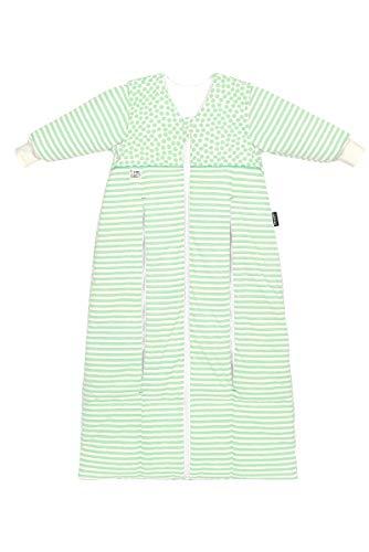 Set Odenwälder Prima Klima Thinsulate Babyschlafsack & Windel Blaubaer, Winterschlafsack mit Ärmel abknöpfbar, mitwachsender Thermo Schlafsack für kalte Tage, Größe:110-130, Design:stripes neon mint
