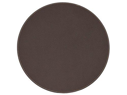 Nikalaz Set de Table Rond (1 pièce), 33 cm, en Cuir Naturel Recyclé, Décor de Table (Marron)