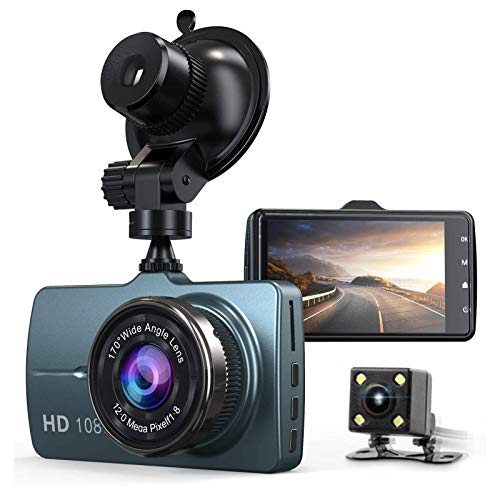 "Dash Cam Front and Rear Car Camera 1080P 3.2"" Dashboard Camera with 32GB SD Card, 170°Wide Angle, Night Vision Dashcam for Cars, Driving Recorder with G-Sensor, Loop Recording"