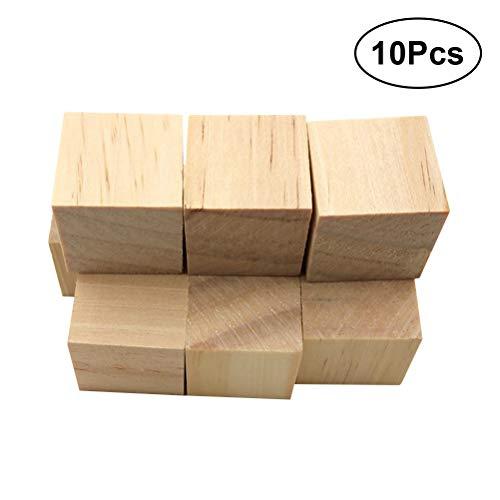 VOSAREA 10 Stück quadratische Holzwürfel zum Basteln