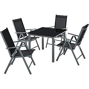 TecTake Aluminium Sitzgarnitur 4+1 Sitzgruppe Gartenmöbel Tisch & Stuhl Set - Diverse Farben - (Dunkel grau | Nr. 402168…