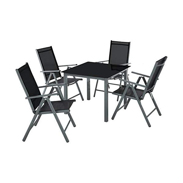 TecTake Aluminium Sitzgarnitur 4+1 Sitzgruppe Gartenmöbel Tisch & Stuhl Set - Diverse Farben - (Silber grau   Nr. 402169…