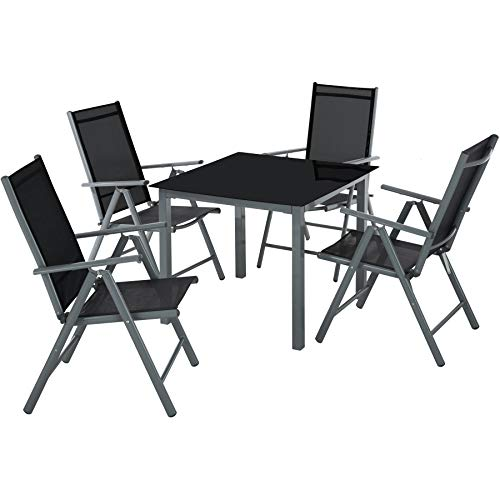 TecTake 800903 Aluminium garden furniture set | 4 foldable chairs and table with glass top | Garden, patio, balcony or conservatory outdoor dining set (Dark Grey)