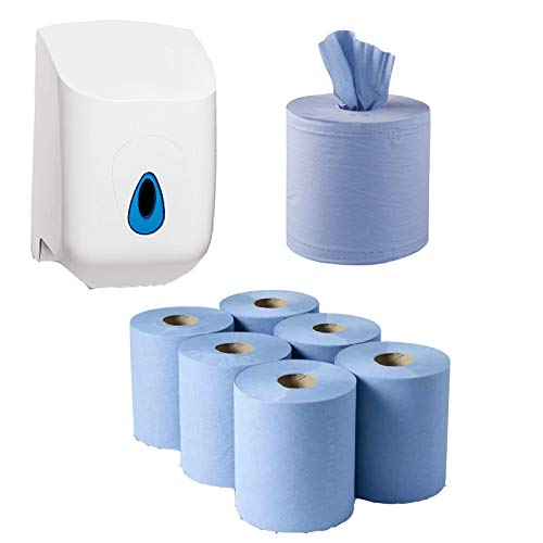 Pack of 6 Centrefeed Blue Paper Rolls & Lockable Dispenser Unit paper hand...