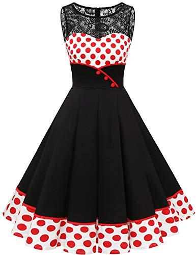 Bbonlinedress 50er Jahre Kleider weihnachtskleider Kleid Hochzeit gast Kleider für hochzeitsgäste Spitzenkleid Damen Rockabilly Kleider Damen White Red BDot S