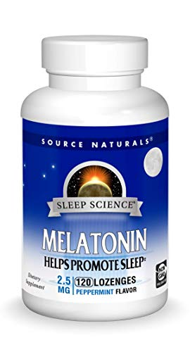 Source Naturals Sleep Science Melatonin 2.5 mg Peppermint Flavor - Helps Promote Sleep - 120 Lozenge Tablets