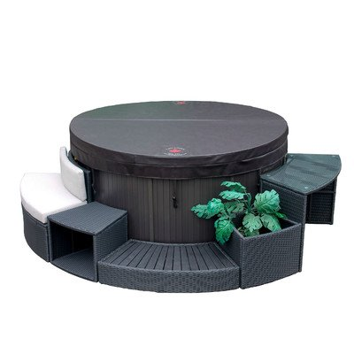 Canadian Spa Company 5 Piece Round Spa Surround Furniture Set Hot Tub, Brown, 114x51x74 cm