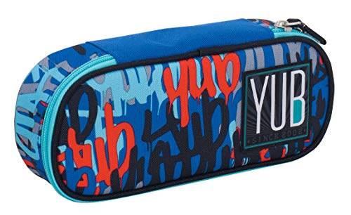 Bustina Round Plus YUB Graffiti, Blu, Organizer interno porta penne