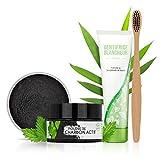 Kit blanchiment dentaire complet L'ATELIER DU SOURIRE- Poudre de charbon + brosse a dent bambou + dentifrice bicarbonate...