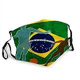 TABUEL Anti Staub Gesichtsbedeckung Mund Ma - SKS Brasilien Brasilianische Flagge Internationaler Fußball Fußball