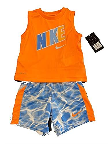 Nike DF Muscle Tank & - Conjunto de camiseta y pantalones cortos, para niño, camiseta naranja y pantalones cortos, 2 - 3 años