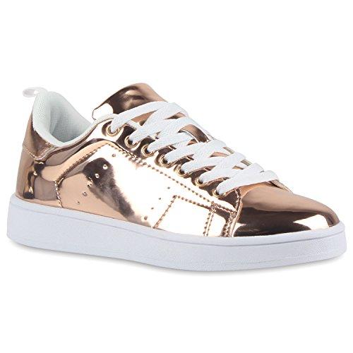 stiefelparadies Bequeme Damen Sneakers Low Metallic Schnürer Schuhe 113185 Bronze Lack 38 Flandell