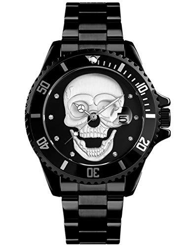 Reloj de pulsera negro para hombre, diseño de calavera blanca 3D, relojes de diseñador de acero inoxidable con calendario de fecha