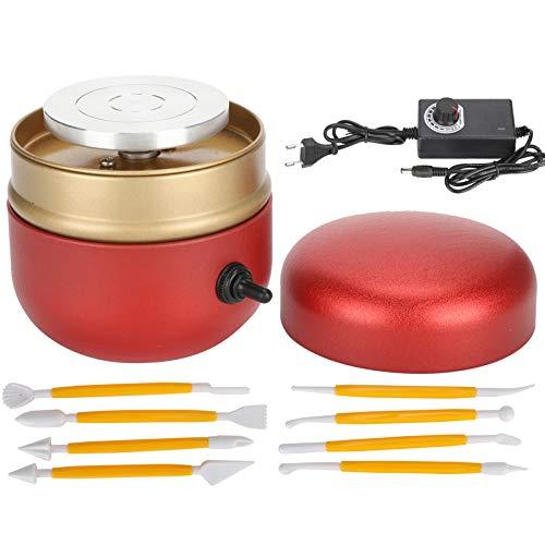 Mini máquina de cerámica | Rueda de cerámica portátil para girar y esculpir 30W con juego de herramientas de cerámica | La mejor herramienta manual de bricolaje para niños adultos(Enchufe de la UE)