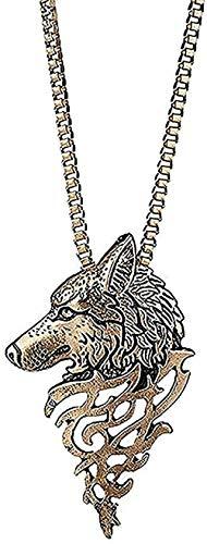 Collar Mujer Personalidad Collar de lobo de acero inoxidable Moda creativa Colgante de animal de metal Estilo vintage Amuleto religioso Collar de caballero antiguo-Oro para mujeres Hombres Niños Niñas