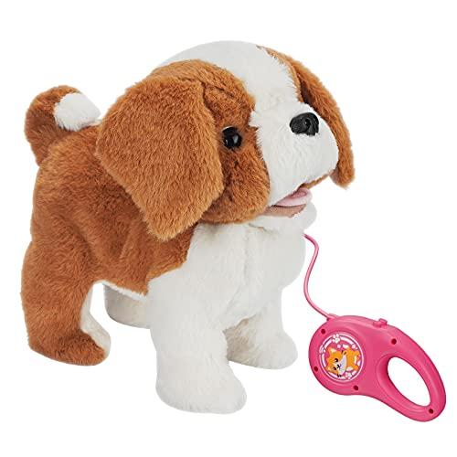 KOVA Hund Spielzeug Kinder Laufender Hund mit Leine der Läuft und Bellt Spielzeug Hund mit Funktionen Eektronisches Haustier Hund Bernhardiner Kuscheltier Roboter Hund mit Fell