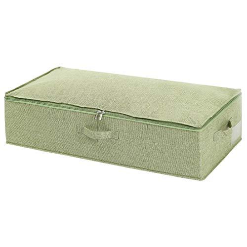 Xlabor Caja de almacenamiento con espacio de almacenamiento, aspecto de lino, plegable, caja de almacenamiento con tapa, verde, L