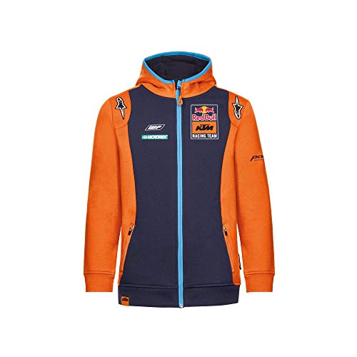 Red Bull KTM Official Teamline Zip Hoodie, Blau Youth Größe 116 Kapuzenpullover, KTM Racing Team Original Bekleidung & Merchandise