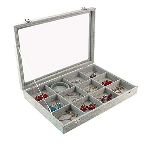 Jewelry Box Gray Velvet 12 grids Carry Case With Glass Lid Jewelry Ring Display Stand Storage Box Holder Organizer Ring Earrings