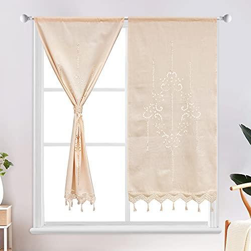 choicehot 1 par de cortinas de estilo rústico, con borlas, vintage, huecas, de ganchillo, de lino, para cocina, retro, color beige, para decoración romántica, 2 unidades de 150 x 70 cm